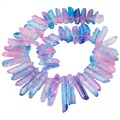 SUNYIK Pink Blue Titanium Coated Quartz Crystal Points Drilled Sticks Spikes 16 inch Strand