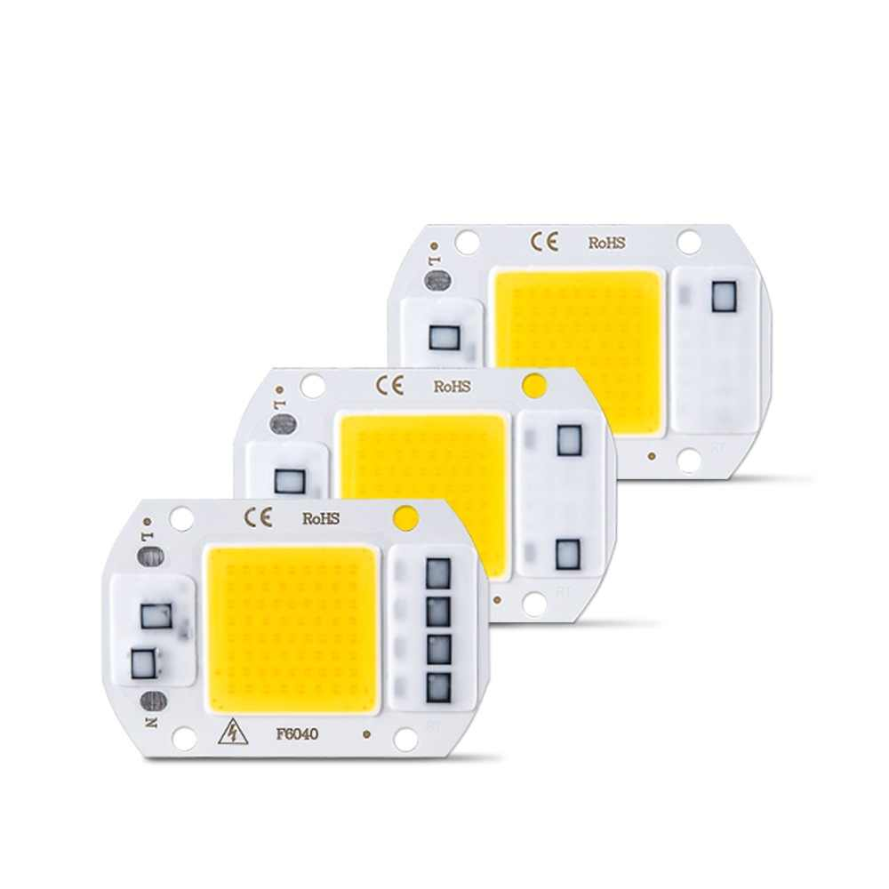 COB LED Chip Lamp 10W 20W 30W 50W 110V 220V Smart IC High Power LED Diode Array Matrix Floodlight Spotlight Light Source