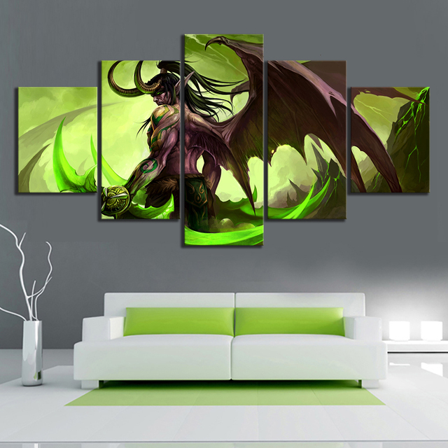 HD Picture 5 Piece Video Game Word of Warcraft Illidan Stormrage Warrior Poster Canvas Art Wall Painting for Home Decor