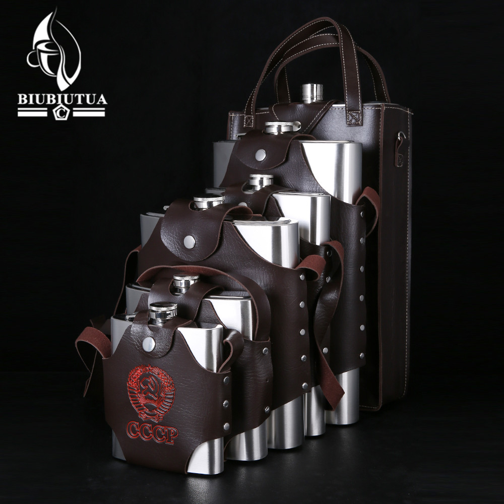BIUBIUTUA 18 48 64 88 108 128 178oz Big Capacity Military Stainless Steel Hip Flask Removable