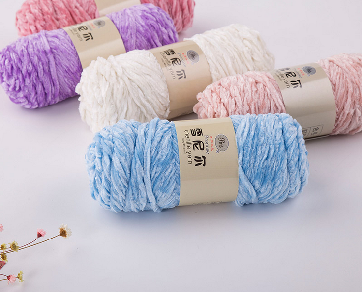 mylb 1ball=100 new velvet wool hand woven wool chenille spring winter hat scarf baby clothing line