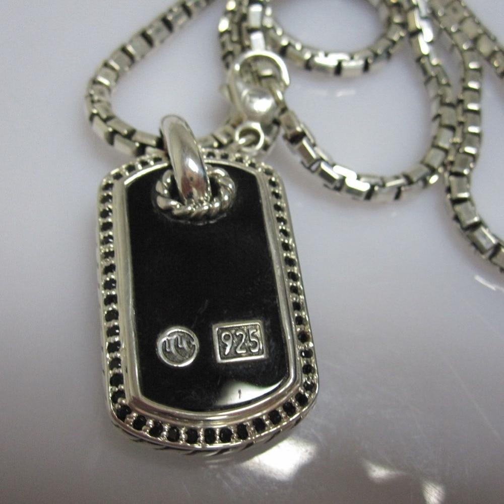 Bijoux en argent Sterling massif pour hommes collier en nacre pour chien collier femme pendentif en argent 925 noir Onyx collier unisexe