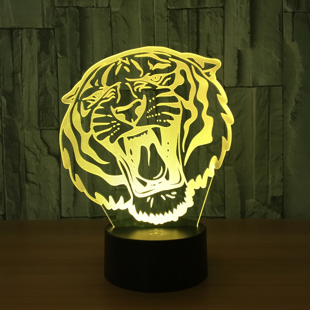 Holiday Gift LED Lights Novelty Tiger Head Shaped Lamp Seven Colors Home Decor Lighting 3D Table Lamp USB Christmas Night Light