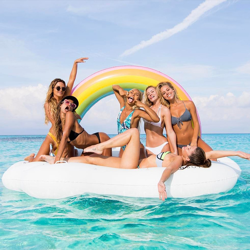 240cm 60inch Giant Inflatable Rainbow Cloud Pool Float 2018 Newest Summer Ride-On Swimming Ring Adults Water Party Toys Piscina 1 9 1 9m hot giant pool swimming inflatable flamingo float air matters floating row swim rings summer water fun pool toys