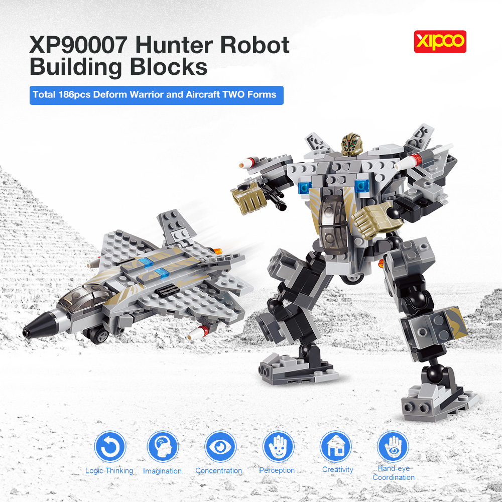 186pcs Hunter Robot Building Blocks Military Building Blocks Airplane Models Bricks Pilot Figures Compatible Toy for Children