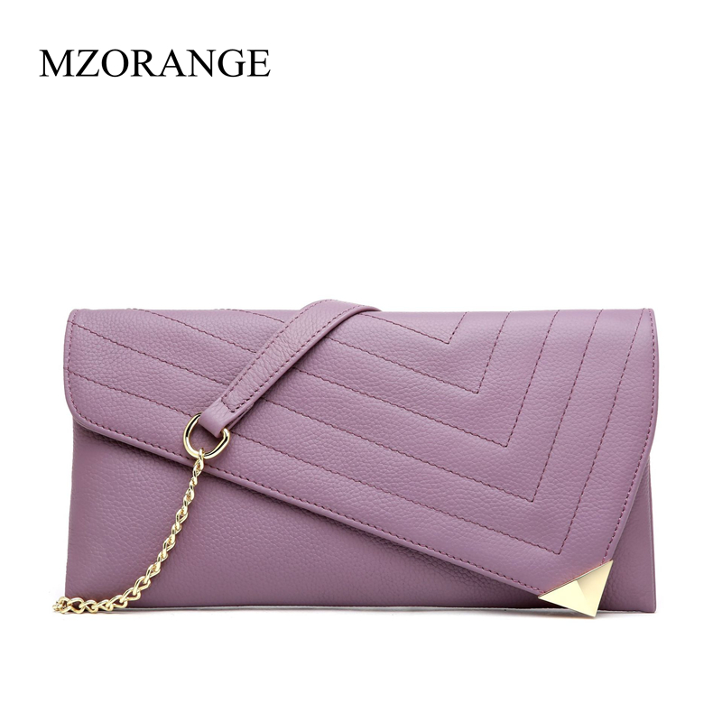 цена на MZORANGE Fashion Women's Clutch Bag Genuine Leather Women Envelope Bag Evening Ladies Clutch Chain Handbag Party Crossbody bag