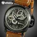 INFANTRY Mens Hand-winding Mechanical Watches PU Leather Wrist Watches 30M Water Resistant Sports Watch Top Brand Relojes