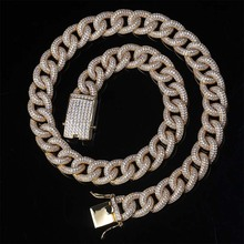Hip Hop Cuban Chain Bling AAA Cubic Iced Out Micro Paved Zircon Miami Link Chain Necklace & Pendants for Men Jewelry