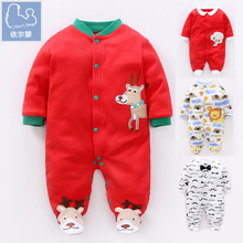 YiErYing Easter Clothes Cotton Long Sleeves Cartoon Animal Printing Baby Boy Girl Rompers Infant Jumpsuits Outfits suits