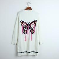 Designer Runway Women 2019 Autumn Winter Thick Sweater White V neck Coats Cardigan Knitted Butterfly Tassel High Street Outwear