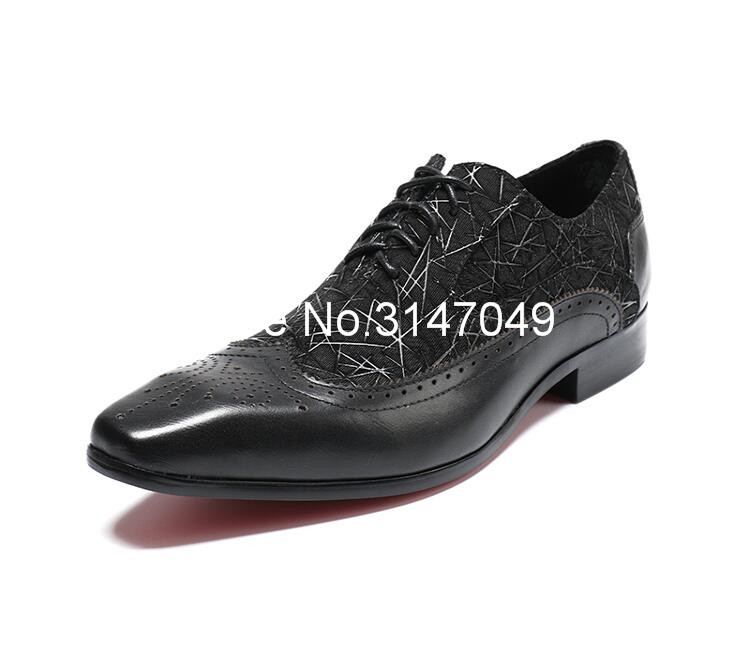 Homens Sapatos de Couro Preto Homens de Impressão S Vestido Casual Shoes Lace Up Sapatos Masculinos Feitos À Mão Plana Grande Tamanho Do Dedo Do Pé Quadrado sapatos de Casamento do noivo - 6