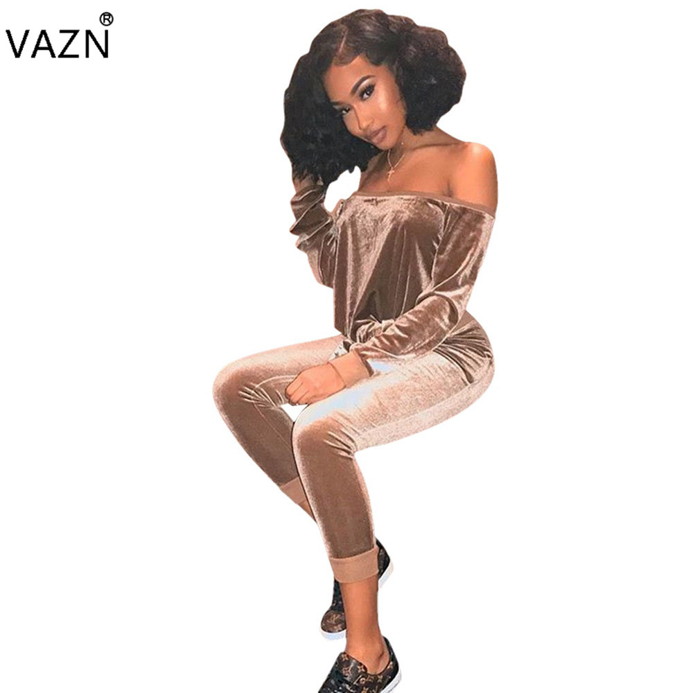 VAZN 2018 New Sexy Bodycon Costume Summer Off the Shoulder Women Set Solid Bodycon Casual Club Rompers D8060