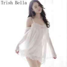 Lace transparent Camisole A word collar Pajamas Reveal Breast Hips sexy lingerie babydoll underwear erotic lenceria porno