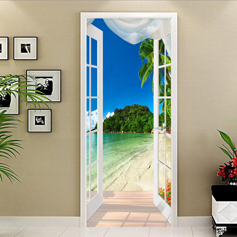 PVC Self-Adhesive Waterproof Door Sticker 3D Seaside Landscape Mural Photo Wallpaper Living Room Creative DIY Decor Stickers 3 D