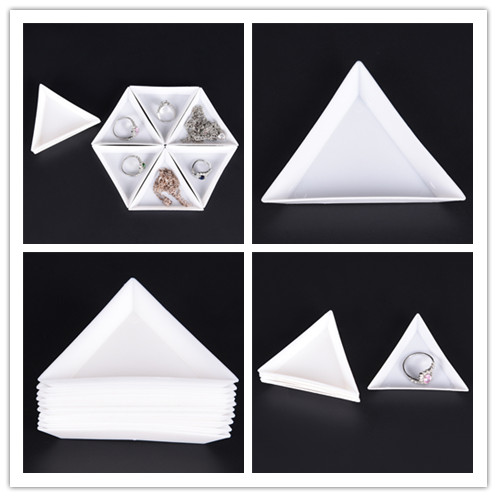 10Pcs White Containers For Beads Display  PP Triangle Plate For Jewelry Beads Organizer Plastic Tray Packaging New