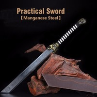 Real Practical Sword Manganese Steel Blade Engraved Dragon Tiger Hardness For Cutting Battle With Leather Sheath