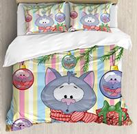 Christmas Duvet Cover Set Kitten with Scarf Under The Tree with Ball Celebration and Gift Box Cat Themed 3/4pcs Bedding Set