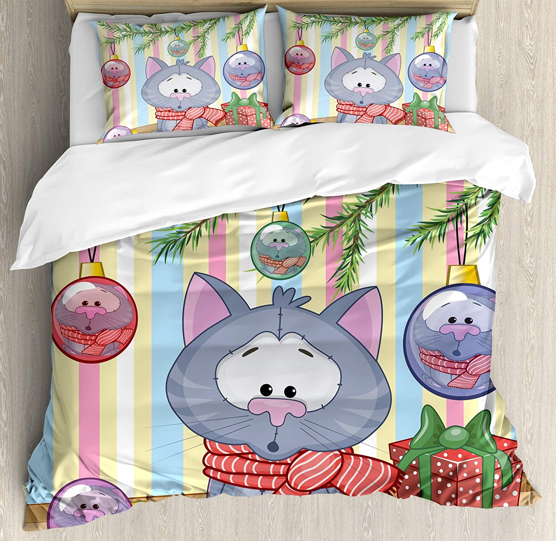 Noël housse de couette ensemble chaton avec écharpe sous le sapin avec boule célébration et boîte cadeau chat thème 3/4 pièces ensemble de literie