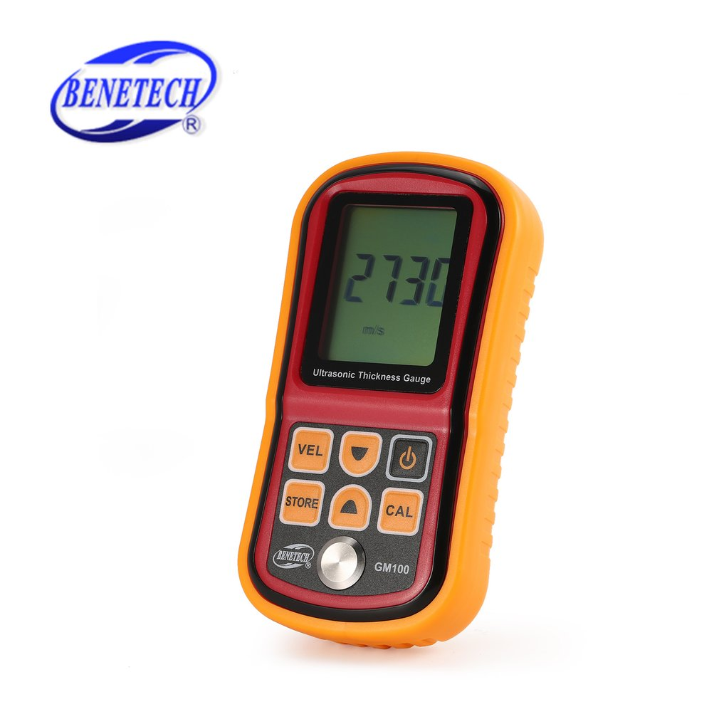 BENETECH GM100 Digital 1.2~225mm Thickness Gauge Meter Ultrasonic Testering Steel Voice Sound Velocity Width Measure Instruments