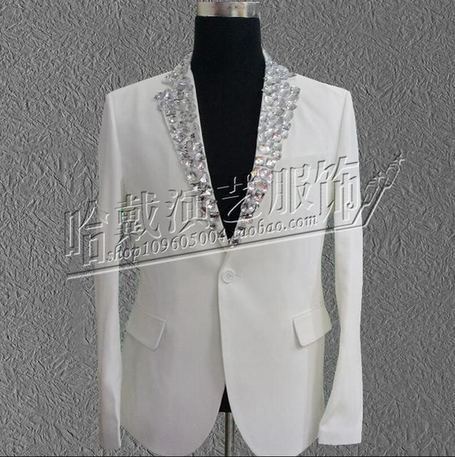Hombres hechos a mano cantantes más nuevo Rhinestone chaqueta delgada del juego negro blanco hombres de chaqueta de la etapa Bar discoteca! S-5XL envío gratis