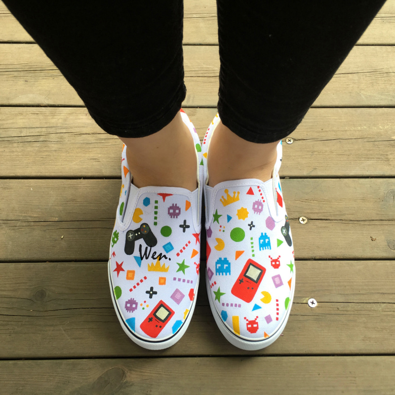 Wen Design Hand Painted Canvas Shoes Handheld Game Player And Gamepad Slip On Customized White Sneakers for Unique Presents