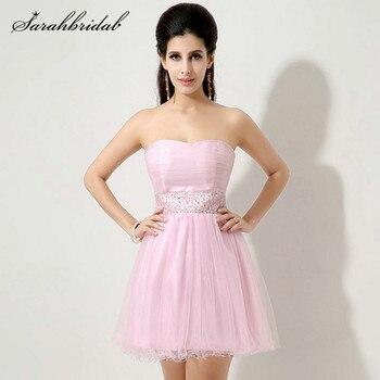 48e20e3ff Rosa juvenil de graduación vestidos de tul Mini vestido sin tirantes de  vuelta sin mangas de encaje de baile vestidos de vestido con cuentas en  Stock SD134