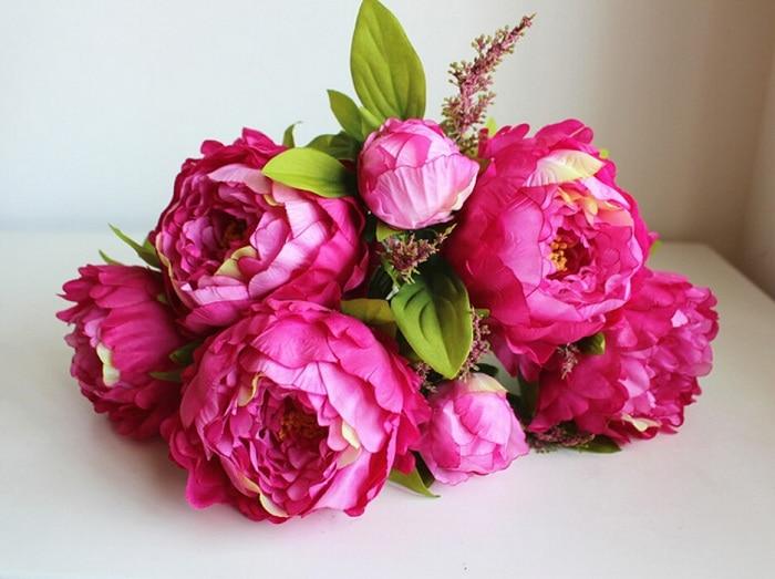 Искусственный шёлковый пион, свадебный букет, стол для свадебной вечеринки, украшение для дома на Рождество, Цветочная композиция, 10 шт - Цвет: Rose Red