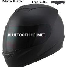 Унисекс-взрослый Полнолицевой стиль Bluetooth интегрированный мотоциклетный шлем с графическим (матовый черный, маленький)