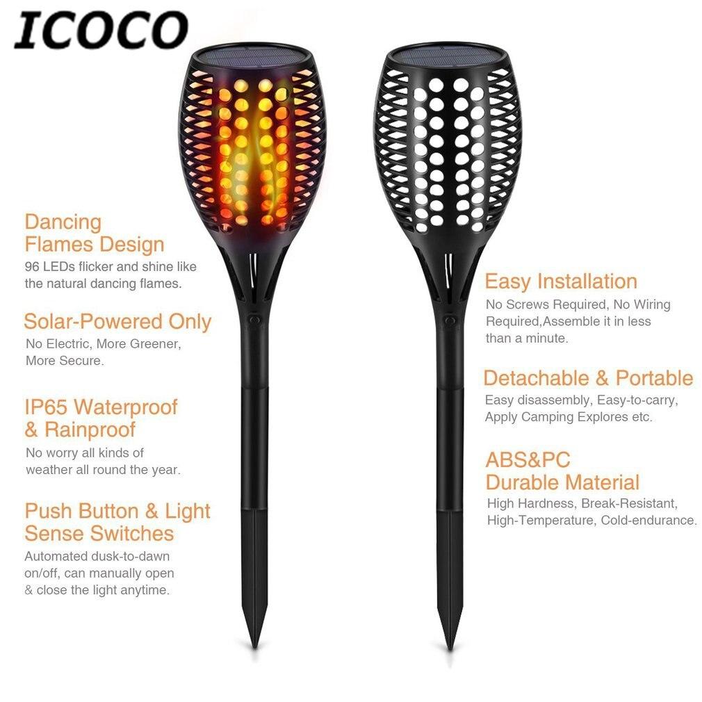 ICOCO Solar Powered Flickering Flame Torch Night Light Porch Lamp Ground Stake for Pathways Yard Garden Waterproof IP65