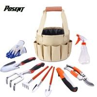 POSENT Portable Garden Kits Waterproof Bag Combination Tools Set Aluminum Shovel Scissors Gloves Rake Saws Bucket Garden Tools