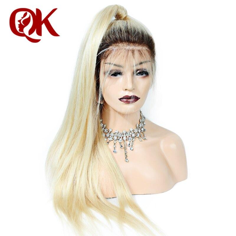 QueenKing T4 cabelo Cheia Do Laço Peruca de cabelo Humano 150% Densidade Ombre 613 Cabelo Loiro Reto de seda 100% Brasileira Humano de Remy cabelo