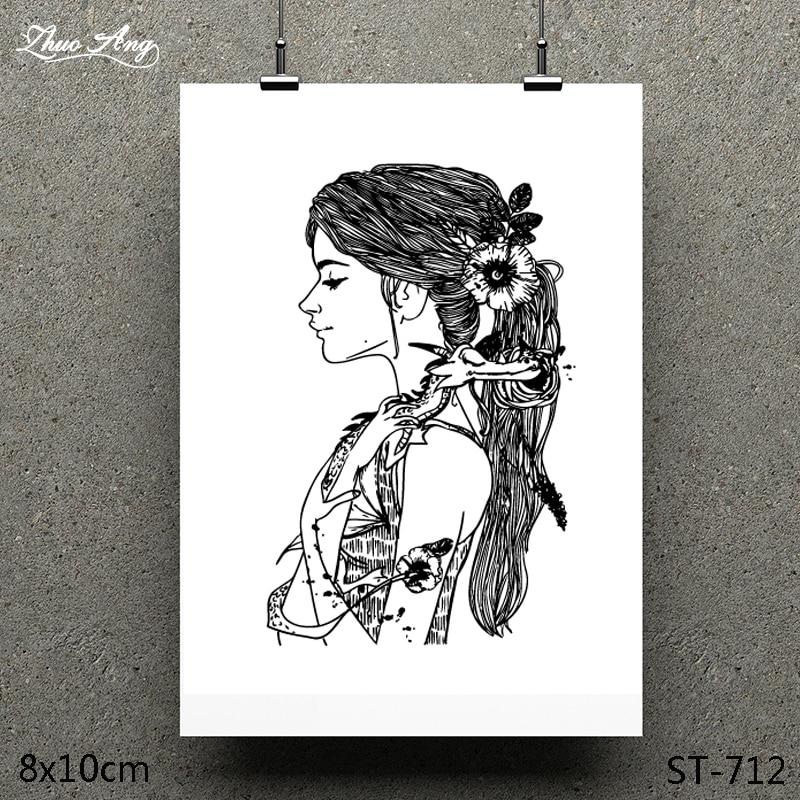 ZhuoAng Cute Long Hair Girl Design Clear Stamp / Scrapbook Rubber Craft Card Seamless