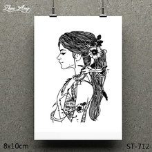 ZhuoAng Cute Long Hair Girl Design Clear Stamp / Scrapbook Rubber Craft Card Seamless