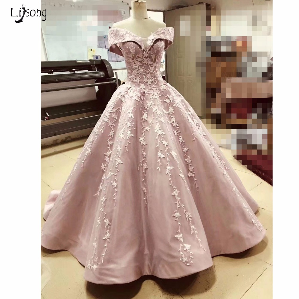 Saudi Arabic 2018 Lace Evening Dresses Dusty Pink Puffy Ball Gowns ...