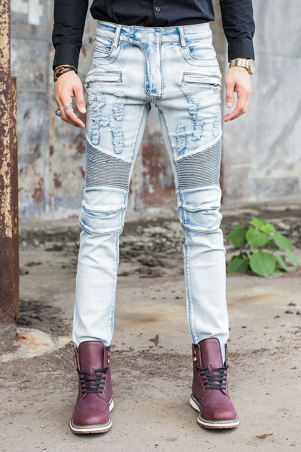 High Quality Design Men Slim Fit Blue Biker Jeans Patch With Holes Ripped Straight Denim Zipper