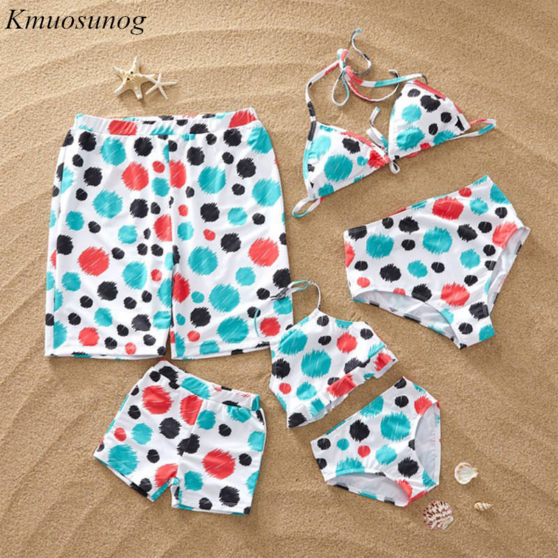 Honest Family Matching Swimwear 2019 White Polka Dot Summer Swimsuit Mother Daughter Swimming Trunks Beach Shorts Men Boys C0363 Mother & Kids