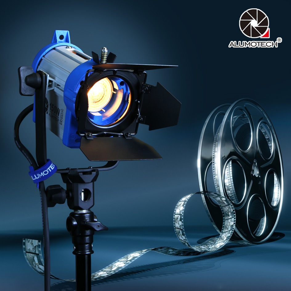 ALUMOTECH As Arri 150W Fresnel Tungsten Spotlight Bulb+Barndoor Lamp For Film Studio Video Camera Photography Lighting