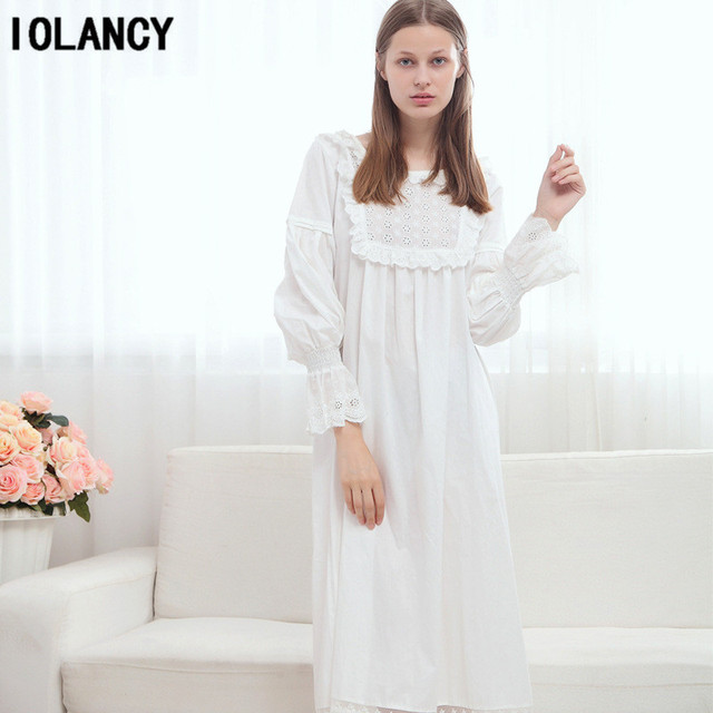 8e1a43c0cd Maternity Sleepwear Palace Princess White Lace Nightgown Long Sleeved Cotton  Large Size Pajamas Dress for Pregnant