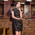 Hot Traditional Chinese Dress Spring Lace Cheongsam Cotton Evening Dress Short Sleeve Lace Qipao Dress Chinese Clothing Store