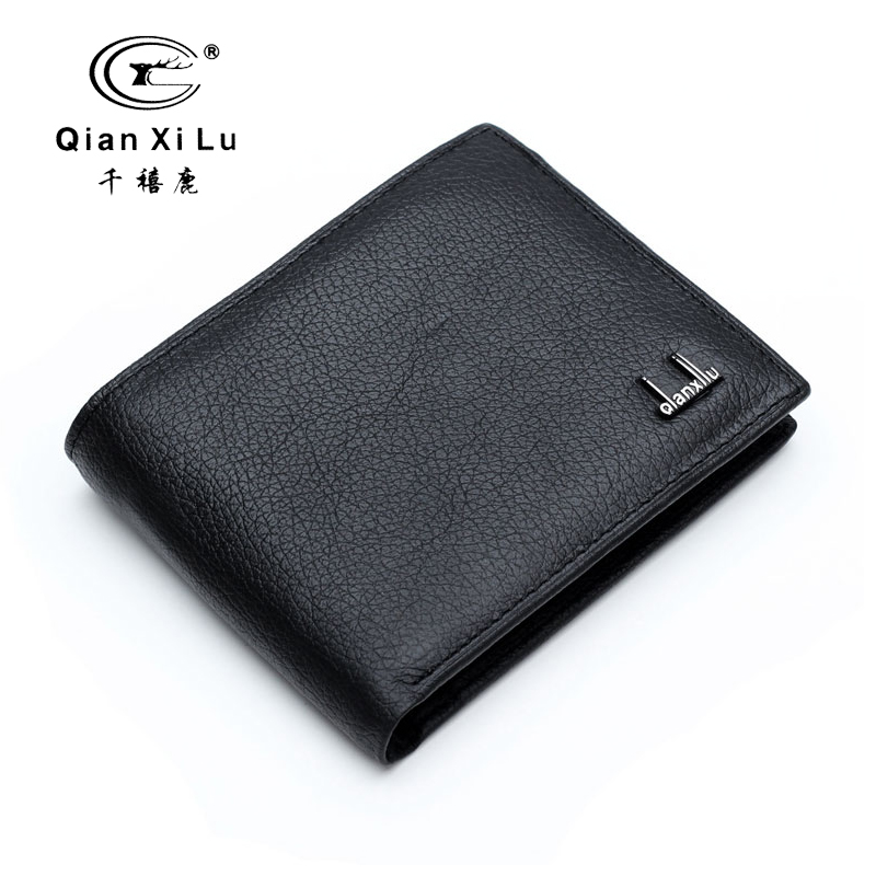 Qianxilu Brand 2016 100% Genuine Leather Mens Wallet Cowhide Wallets for Man Short Black Premium product Portefeuille Homme Cuir