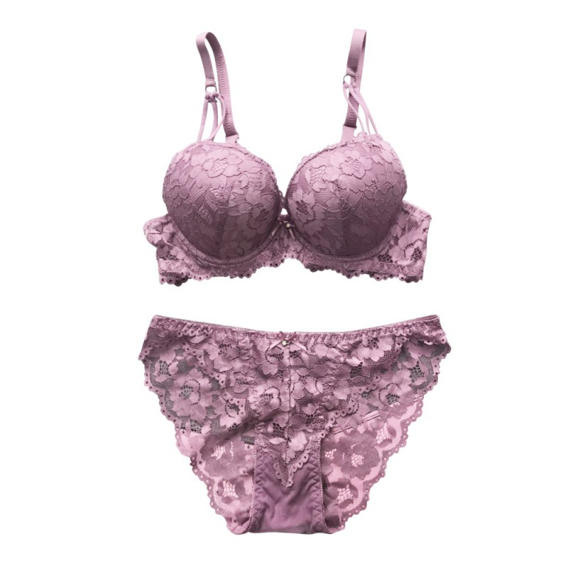 ROPALIA Sexy lace embroidery flowers thin thick double shoulder strap bra set deep V-neck thickening women push up underwear T7