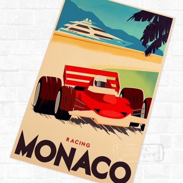 Pop Art Monaco Racing Sports Classic Vintage Retro Kraft Poster Decorative DIY Wall Canvas Sticker Home