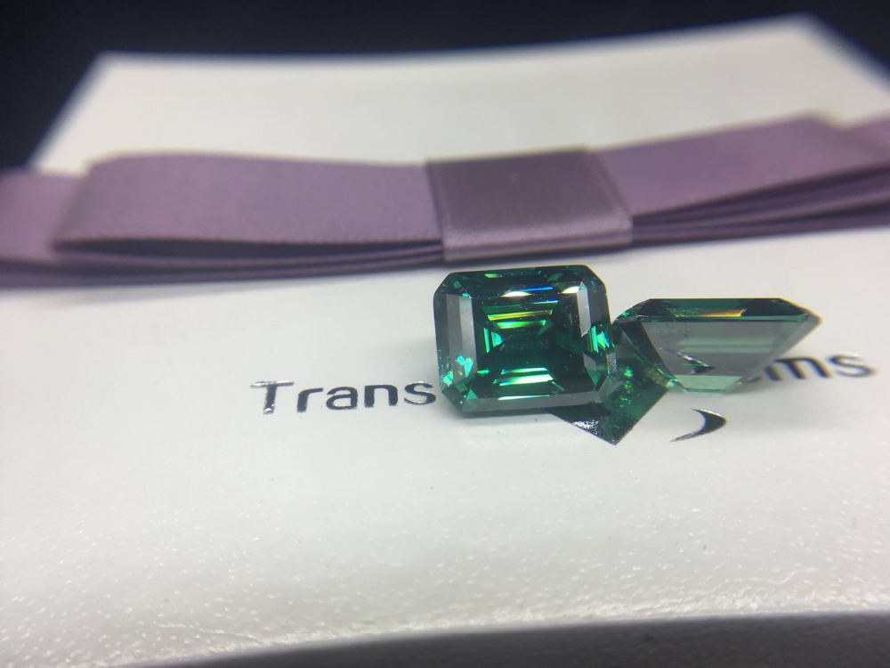 TransGems 8mm*10mm green Color Emeral Cut Certified Loose Moissanite Bead Test Positive As Real Diamond 1 piece transgems 7 5mm 7 5mm 2carat deep blue color cushion cut moissanite bead test positive as real diamond 1 piece