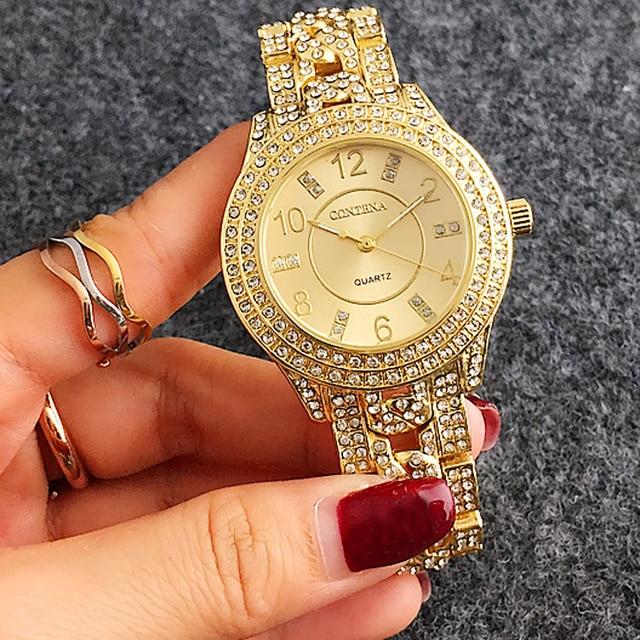 90845eb4be0e9 ووتش النساء الفاخرة 2018 الشهيرة العلامة التجارية الأزياء كوارتز السيدات  ووتش الإناث ساعة الفضة روز الذهب