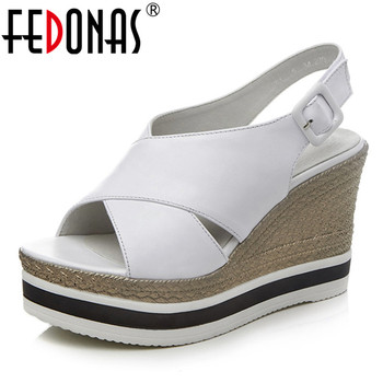 FEDONAS New Arrival Fashion Sexy Women Sandals Top Quality Round Toe High Heels Genuine Leather Casual Shoes Summer Shoes Woman