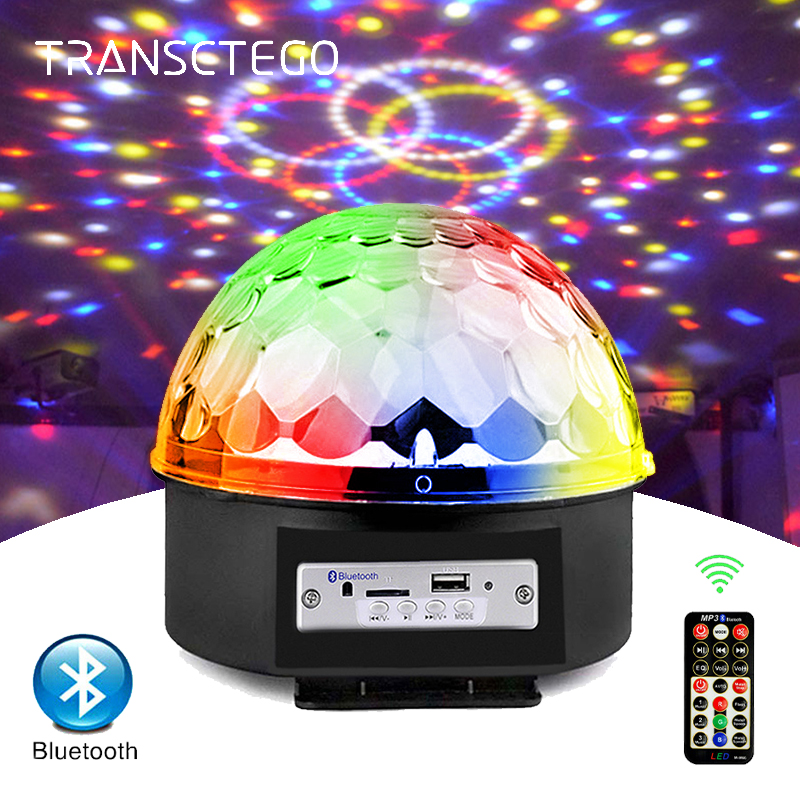 Bluetooth MP3 Led Disco Light Ball Party Lights 9 Colors Rotating LED Stage Lamp DJ Magic Ball Projector Laser Music Player Lamp