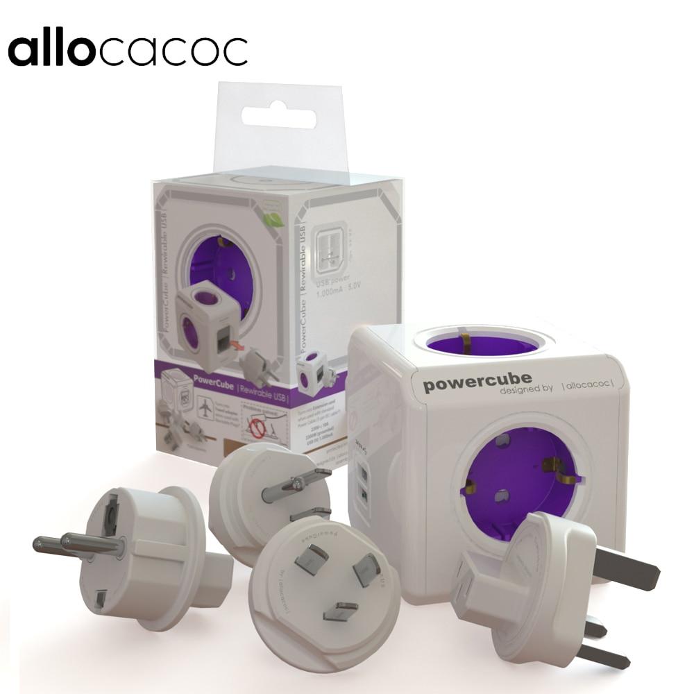 Allocacoc PowerCube Smart Socket EU/US / UK / AU Plugs 4 Outlets Dual 2 USB Ports Adapter EU / US Standard For Travel life