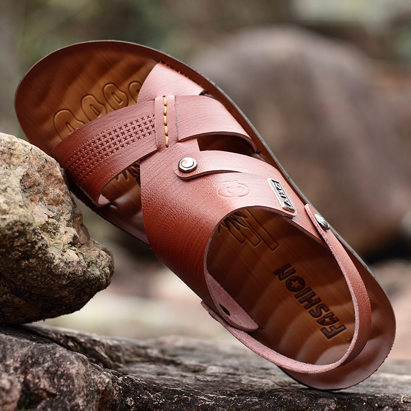 2eb67c38340f75 Luxury Slides Flip Flops Summer Leather Men s Slippers Good quality 2018  Fashion Non slip Sandals Beach Shoes for Men-in Slippers from Shoes on ...
