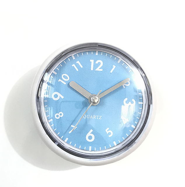 Blue Slient Suction Cup Bathroom Wall Clocks Silicon Rubber Waterproof Kitchen Brack Gl Mirror Clock Quiet Simple