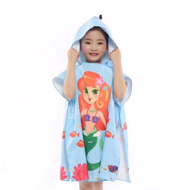 Новое поступление, Лидер продаж, летнее портативное пляжное банное полотенце из микрофибры с мультяшным рисунком, купальное полотенце с крышкой, быстросохнущая Мочалка для детей, 83*60 см - Цвет: 6